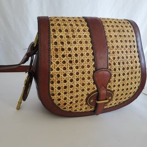 Vintage Fossil wicker woven leather shoulder purse